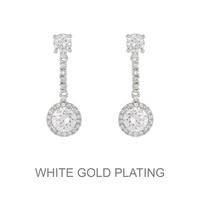 Dangly Round Cz Stone Earrings With White Gold Plating Ecz4583R