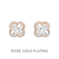 PLATED CLOVER SHAPED CUBIC STUD EARRING