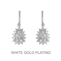 PLATED DANGLY CUBIC ZIRCONIA EARRING