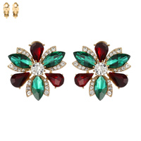 MARQUISE STONE FLOWER CLIP ON EARRINGS