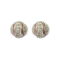 Stone Encrusted Baseball Stud Earrings El117