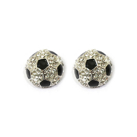 Stone Encrusted Soccer Ball Stud Earrings El118