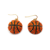 Stone Encrusted Basketball Dangly Fishhook Earrings El120
