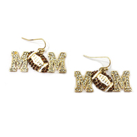 Stone Encrusted Mom With Football Dangly Fishhook Earrings El123