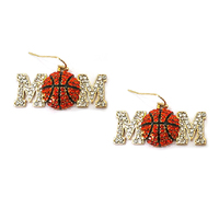 Stone Encrusted Mom With Basketball Dangly Fishhook Earrings El12