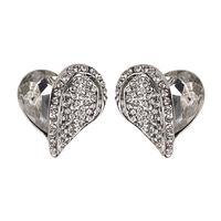 CLEAR TRENDY HEART SHAPPED EARRINGS WITH STONES