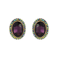 Oval Gem With Stone Edge Metal Earrings