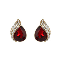 Teardrop Gem With Stone Leaf Stud Earrings