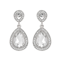Dangly Teardrop Gem with Stone Edge Earrings