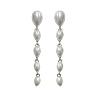 TEARDROP DANGLY METAL STONE EARRING