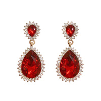DROP POINTED RIM STONE POST EARRING