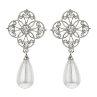 METAL STONE PEARL DROP EARRING