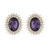 SUNBURST GLASS STONE STUD EARRING