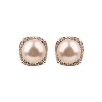 Pearl With Stones Stud Earrings Ewq15Swh