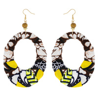 AFRICAN PRINT FABRIC FISH HOOK EARRING