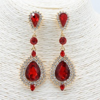 RED STONE EARRINGS W/LARGE STONE ON BOTTOM