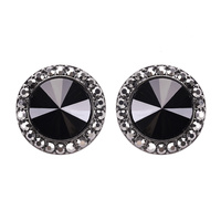 ROUND STONE POST EARRING