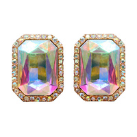 RECTANGLE MIRROR STONE EARRING