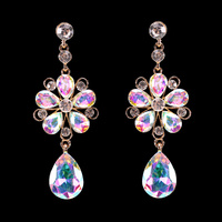 RADIANT FLORAL DROP STONE EARRING