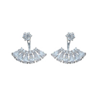 CZ BAGUETTE FAN SHAPE EARRING