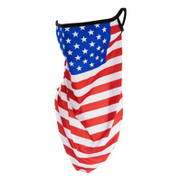 AMERICAN FLAG FACE TUBE SCARF MASK W/EAR LOOPS
