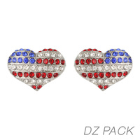 Flag0002S Patriotic Flag Stone Hear Earrings