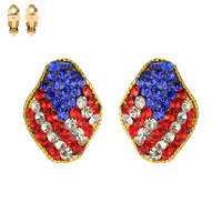 Flag0004G Patriotic Stone Flag Stud Clip Earrings