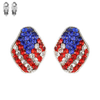 Flag0004S Patriotic Stone Flag Stud Clip Earrings