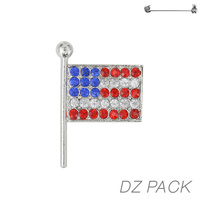 Flag0021S Patriotic Stone Flag Pin