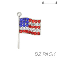 Flag0022S Patriotic Stone Flag Pin