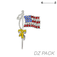 Flag0025S Patriotic Stone Flag Pin