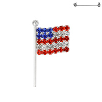 Flag0029S Patriotic Rhinestone Flag Pin