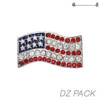 Flag0030Rds Patriotic Stone Flag Pin