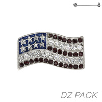 Flag0030S Patriotic Stone Flag Pin