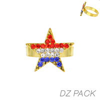 Flag0057G Patriotic Stone Star Adjustable Ring