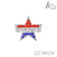Flag0057S Patriotic Stone Star Adjustable Ring
