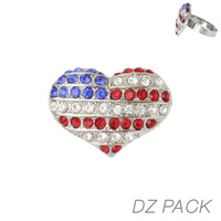 Flag0058S Patriotic Stone Heart Adjustable Ring