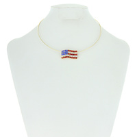 Flag0059G Patriotic Stone Flag Choker Necklace