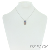 Flag0060S Patriotic Stone Flag Pendant Necklace
