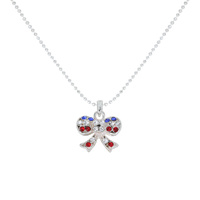 Flag0061S Patriotic Stone Bow Pendant Necklace
