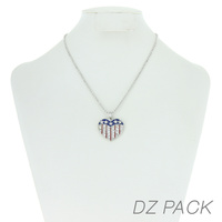 Flag0063S Patriotic Stone Heart Pendant Necklace