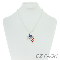 Flag0066S Patriotic Enamel Flag Pendant Necklace