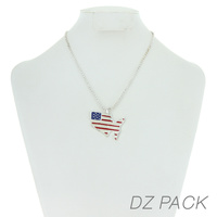 Flag0067S Patriotic Enamel Country Shape Pendant Necklace