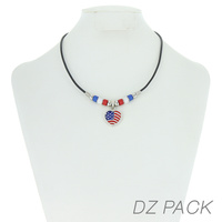 Flag0070 Patriotic Enamel Heart Pendant Necklace
