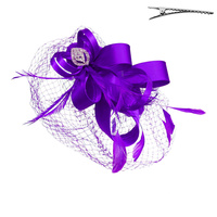 LOOPY SATIN BOW W/FEATHER FASCINATOR