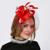 Ft700Rd Satin Bow With Feather And Veil Hair Clip Fascinator
