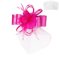 SATIN BOW W/FEATHER FASCINATOR