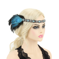 BEADED PEACOCK GATSBY HEADBAND