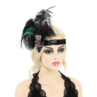 FEATHER OWL SEQUIN GATSBY HEADBAND
