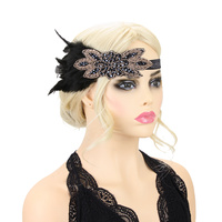 BRONZE BEADED FEATHER 20S GATSBY